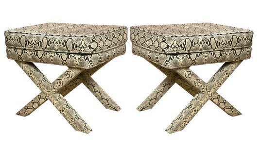 Pair Faux Snake Skin X Benches