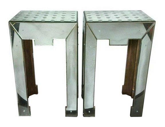 Pair Bubble Hand Blown Mirror End Tables