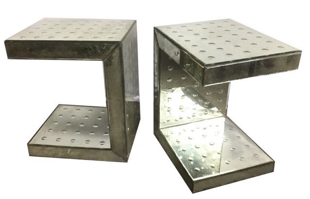 Pair Bubble Hand Blown C-Shaped Mirror End Tables