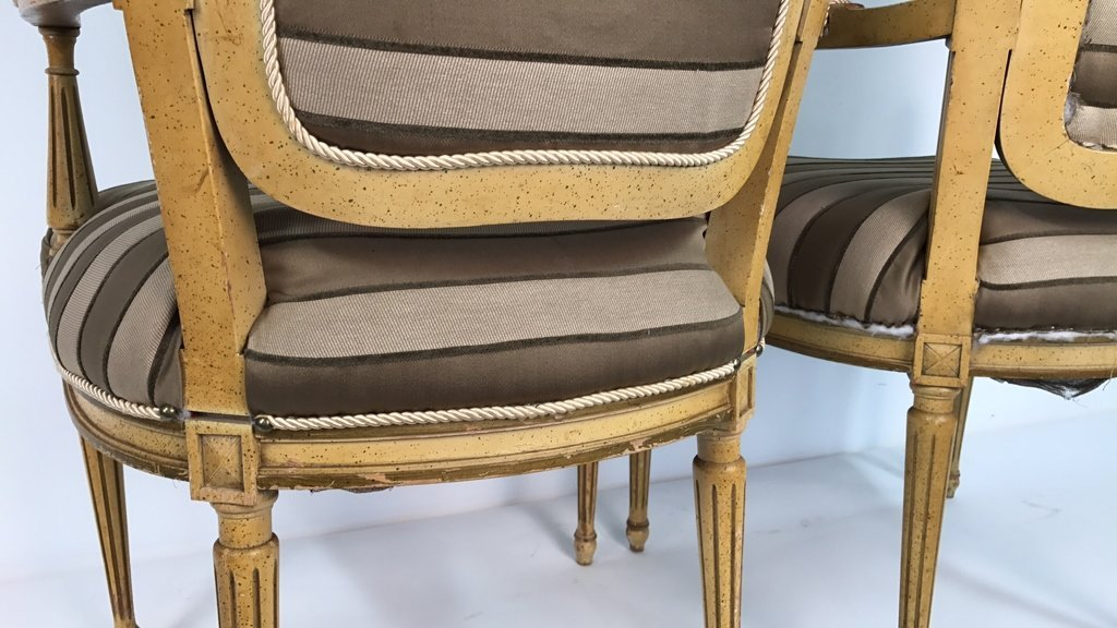 Pair of Italian Hi Back Arm Chairs - 10