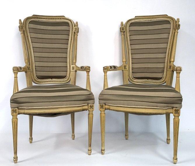 Pair of Italian Hi Back Arm Chairs