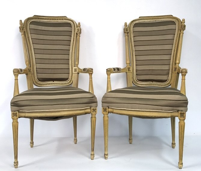 Pair of Italian Hi Back Arm Chairs