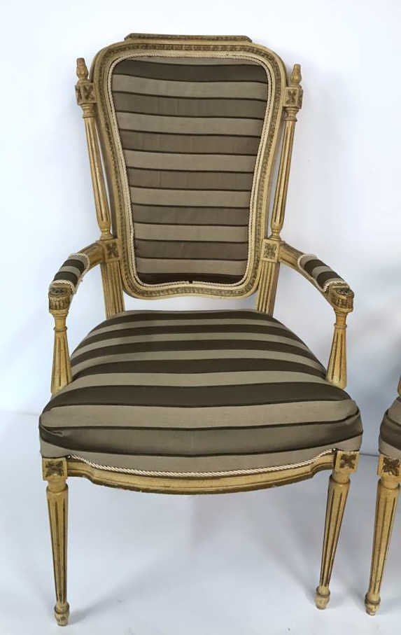Pair of Italian Hi Back Arm Chairs - 2