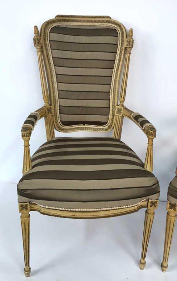 Pair of Italian Hi Back Arm Chairs - 2