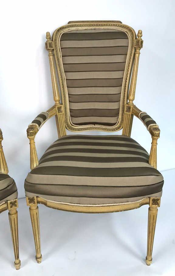 Pair of Italian Hi Back Arm Chairs - 3