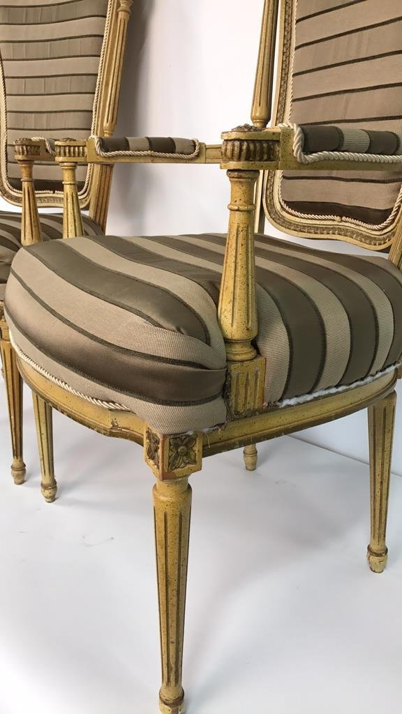 Pair of Italian Hi Back Arm Chairs - 7