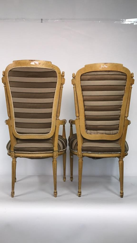 Pair of Italian Hi Back Arm Chairs - 9