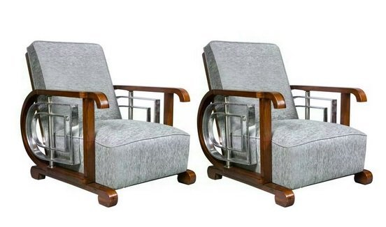 Pair Steel &Rosewood Mid Century Mod Lounge Chairs