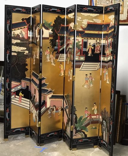 Oversized Asian Hand Painted Screen