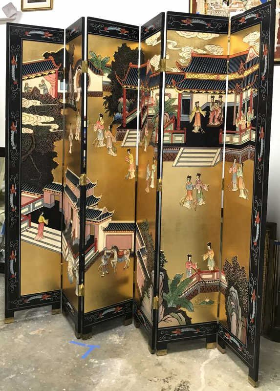 Oversized Asian Hand Painted Screen - 2