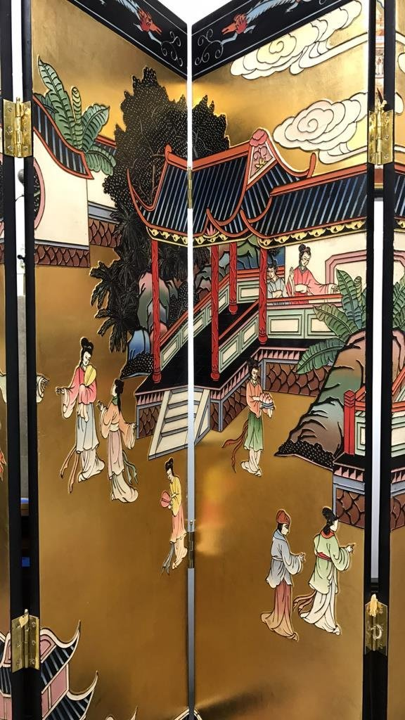 Oversized Asian Hand Painted Screen - 3