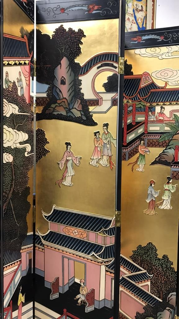 Oversized Asian Hand Painted Screen - 4