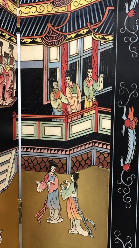 Oversized Asian Hand Painted Screen - 5