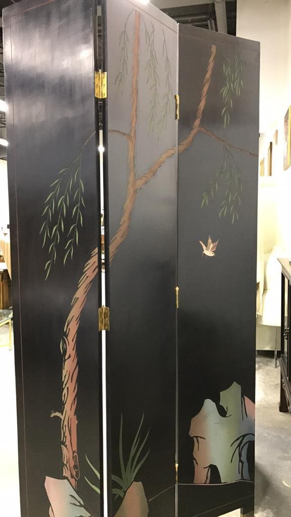 Oversized Asian Hand Painted Screen - 6