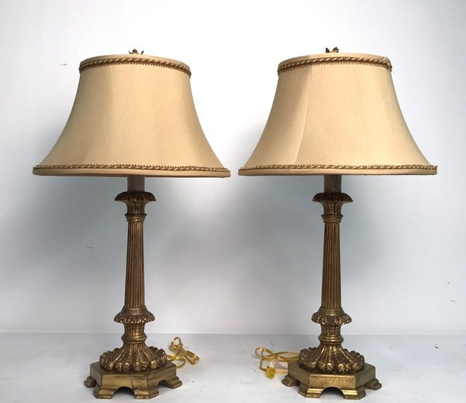 Pair Formal Carved Gold Leaf Table Lamps
