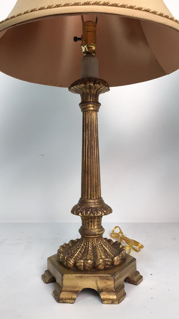 Pair Formal Carved Gold Leaf Table Lamps - 2