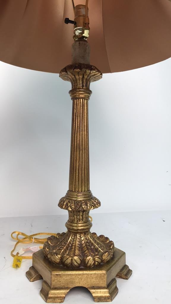 Pair Formal Carved Gold Leaf Table Lamps - 3