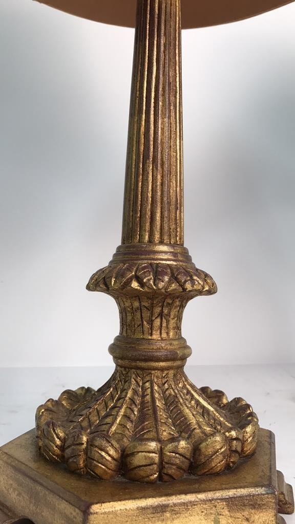 Pair Formal Carved Gold Leaf Table Lamps - 4