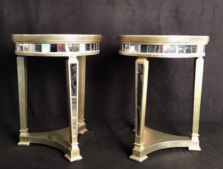 Pair Regency Mirror on Mirror Round Side Tables - 10