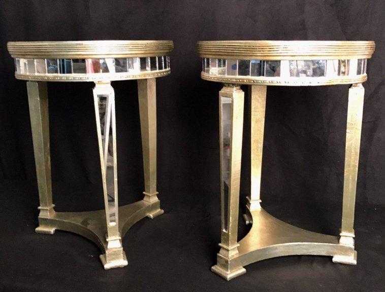 Pair Regency Mirror on Mirror Round Side Tables