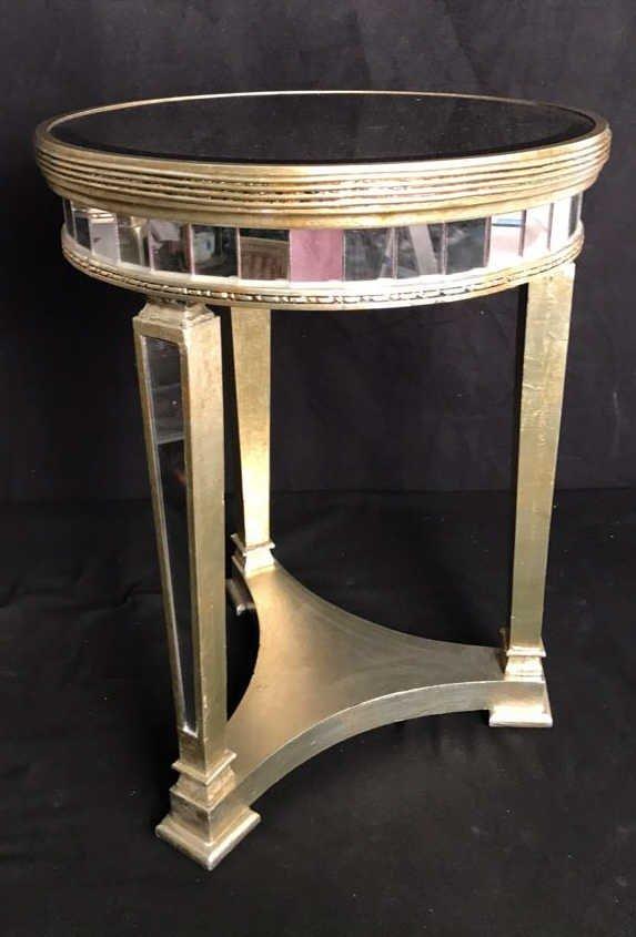 Pair Regency Mirror on Mirror Round Side Tables - 2
