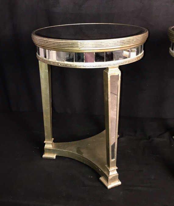 Pair Regency Mirror on Mirror Round Side Tables - 3