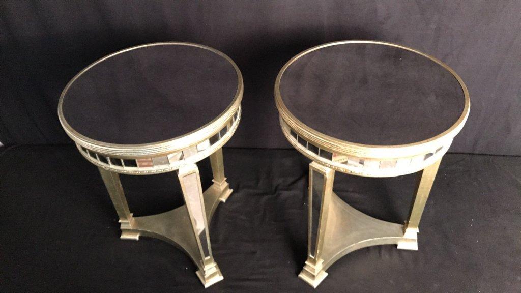 Pair Regency Mirror on Mirror Round Side Tables - 4