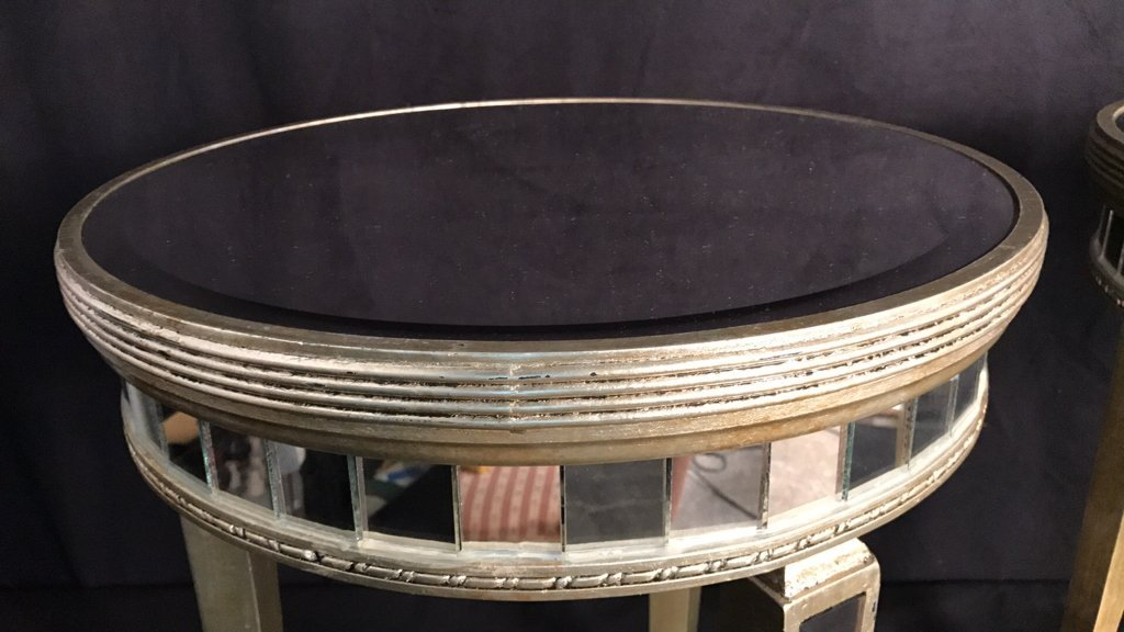 Pair Regency Mirror on Mirror Round Side Tables - 5