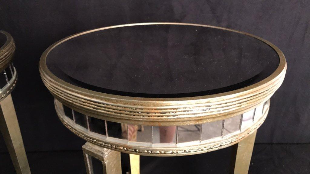 Pair Regency Mirror on Mirror Round Side Tables - 6