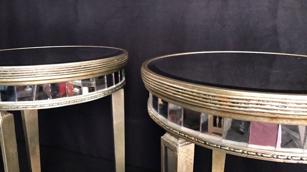 Pair Regency Mirror on Mirror Round Side Tables - 9