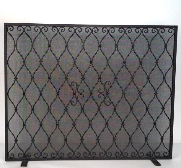 Diamond Weave Design Wrought Iron Fireplace Screen - 10