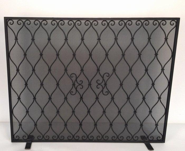 Diamond Weave Design Wrought Iron Fireplace Screen