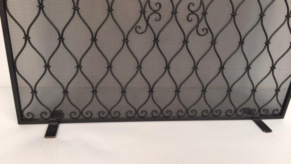 Diamond Weave Design Wrought Iron Fireplace Screen - 3
