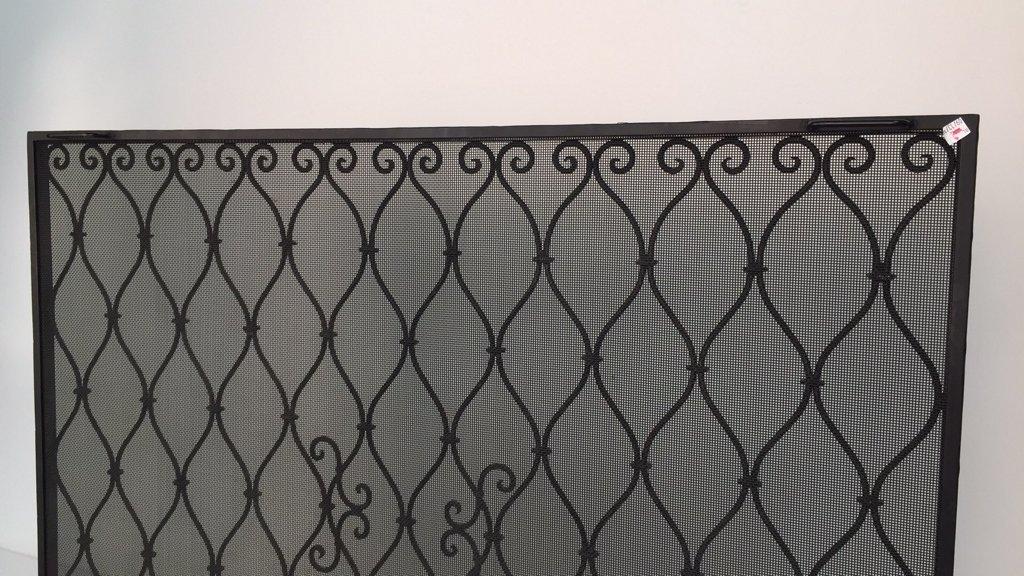 Diamond Weave Design Wrought Iron Fireplace Screen - 6