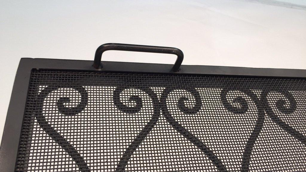 Diamond Weave Design Wrought Iron Fireplace Screen - 8