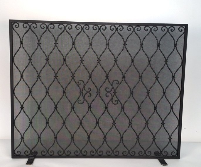 Diamond Weave Design Wrought Iron Fireplace Screen - 9