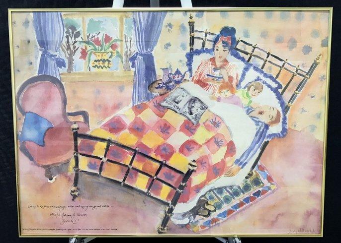 Framed Whimsical English Hotel Artwork