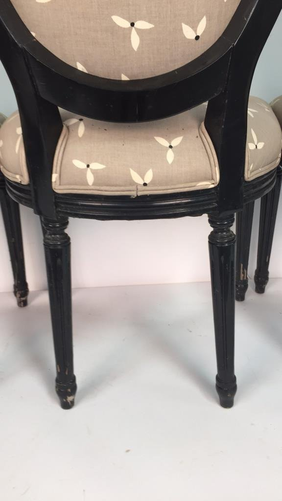 Set of 4 Upholstered Federal Oval Style Chairs - 10