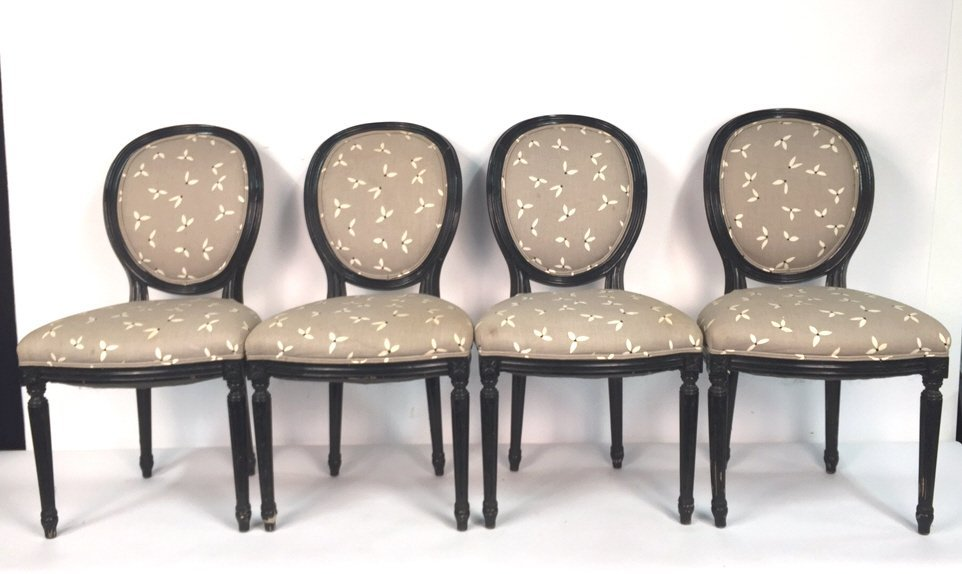Set of 4 Upholstered Federal Oval Style Chairs