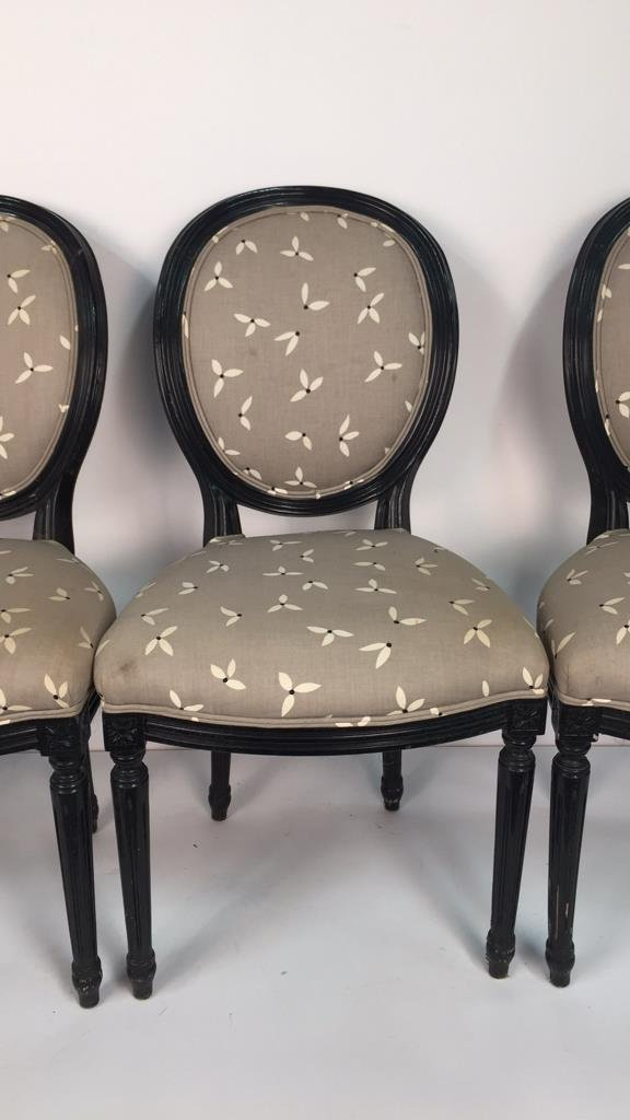 Set of 4 Upholstered Federal Oval Style Chairs - 3