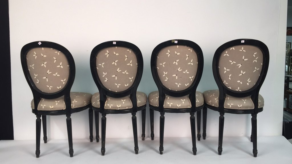 Set of 4 Upholstered Federal Oval Style Chairs - 8
