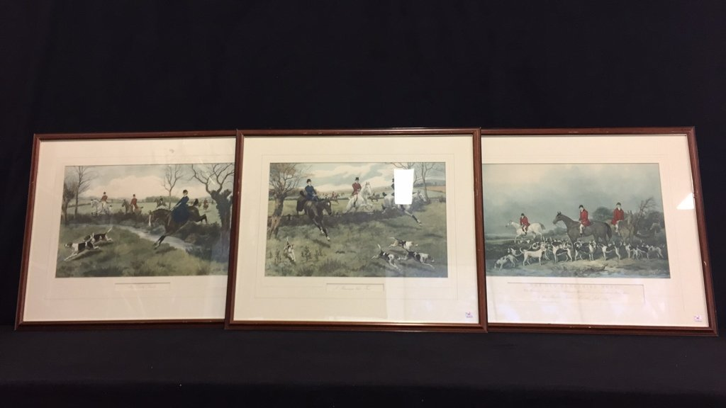 Three Vintage Framed Hunting Prints