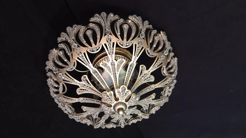 Vintage Crystal Beaded Surface Mounted Fixture - 2