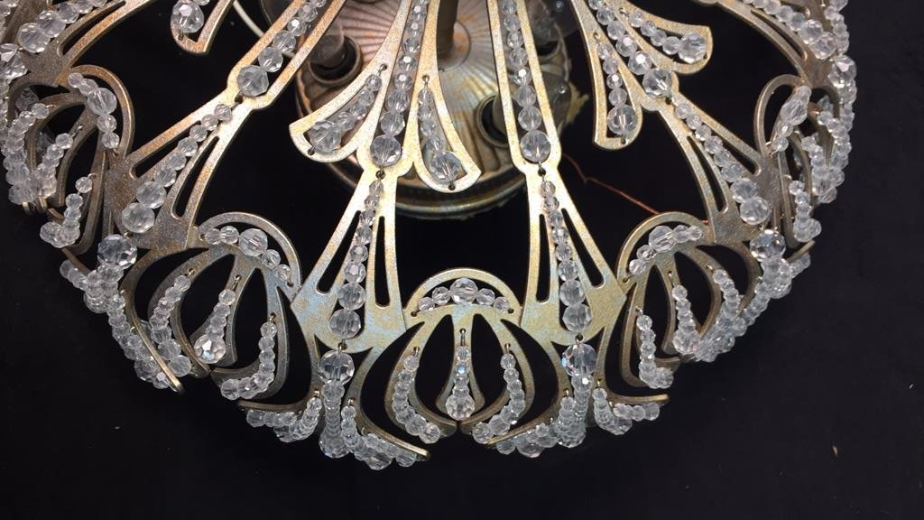 Vintage Crystal Beaded Surface Mounted Fixture - 4