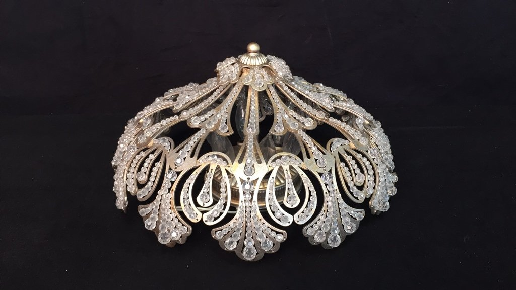 Vintage Crystal Beaded Surface Mounted Fixture - 5