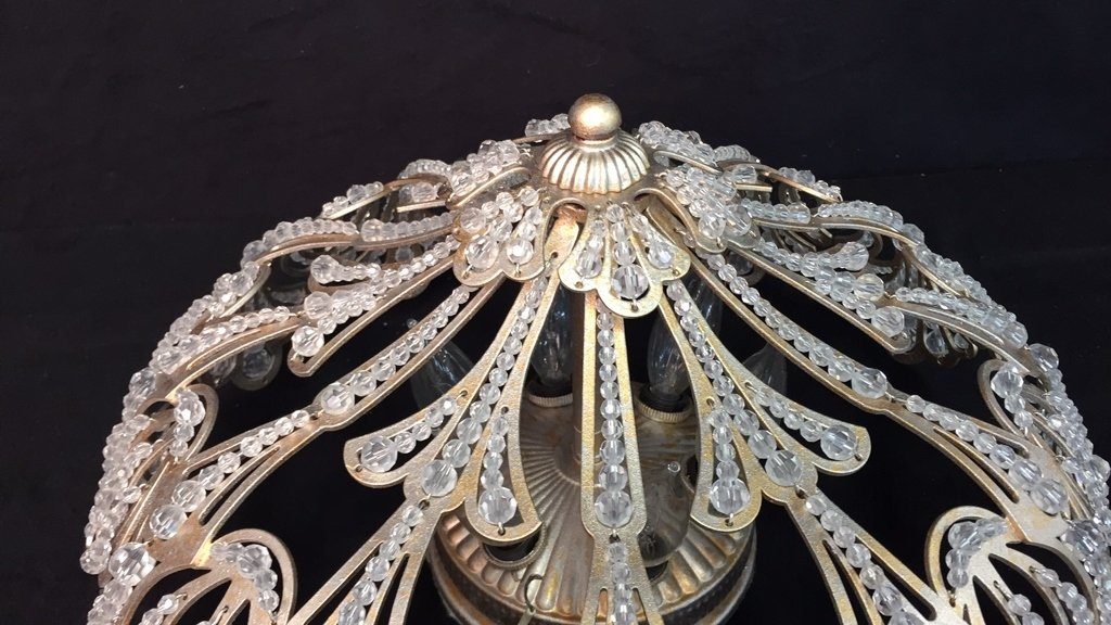 Vintage Crystal Beaded Surface Mounted Fixture - 6