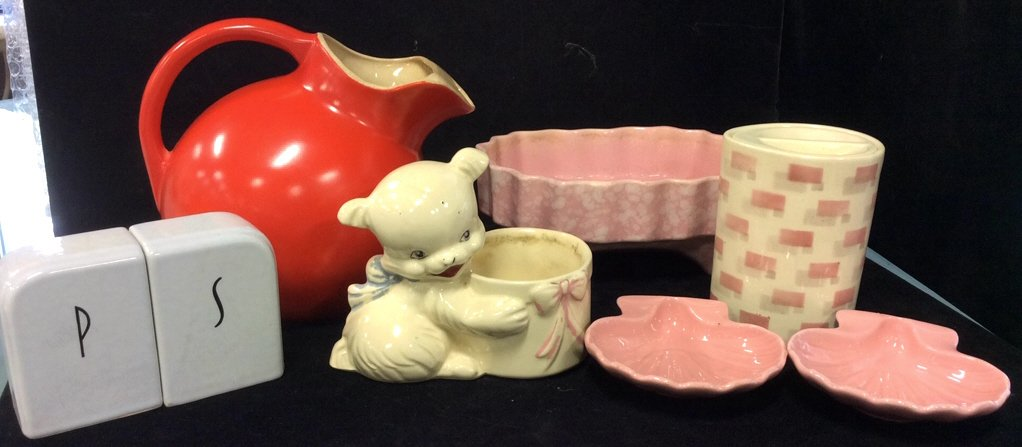 Vintage pink white red pottery group lot