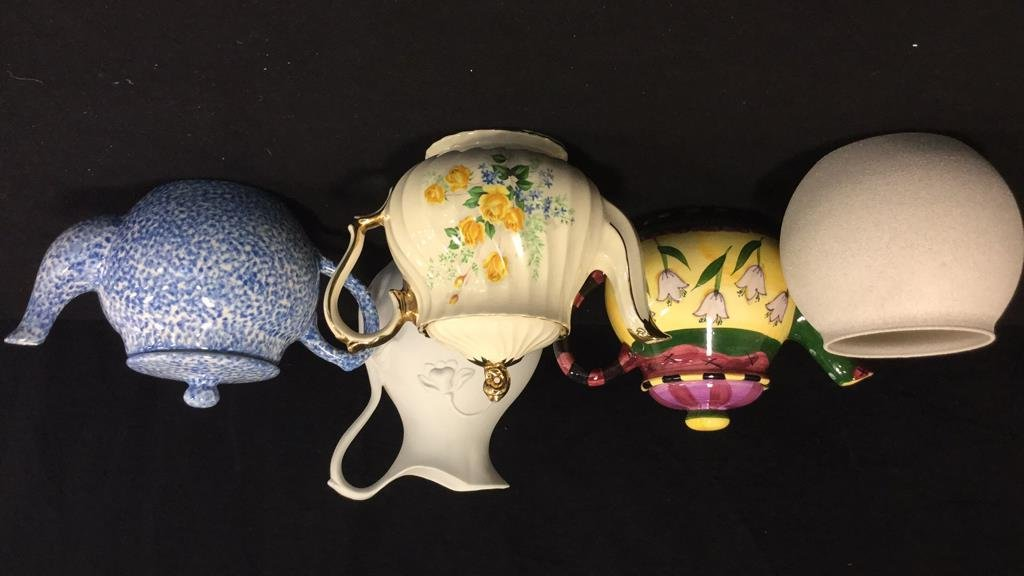 Group lot porcelain teapots pitcher vase signed