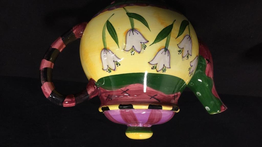 Group lot porcelain teapots pitcher vase signed - 3