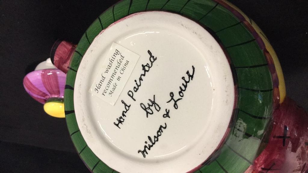 Group lot porcelain teapots pitcher vase signed - 4